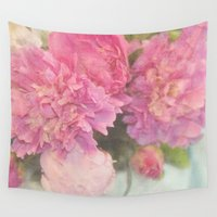 peonies Wall Tapestries featuring Peonies by Lisa Argyropoulos