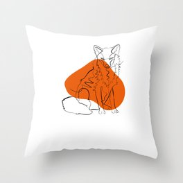 Fuchs - One Line Drawing Throw Pillow