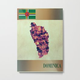 Dominica Map with Flag Metal Print