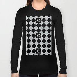 Metallic look grey and black abstract floral checkered pattern Long Sleeve T-shirt