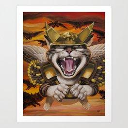 Hawk cats, DIVE! Art Print
