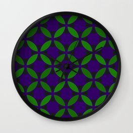 Geometric Floral Retro Circles In Bold Green & Purple Wall Clock