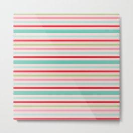 Horizontal Candy Colored Stripes Metal Print