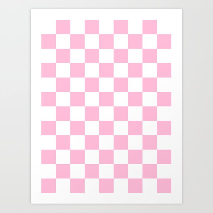 64d59f8dff3c5 Checkered - White and Cotton Candy Pink Art Print by checkeredanddiamonds