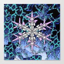 GRAPHIC WINTER SNOWFLAKE PEN & INK DRAWING Canvas Print