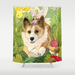 The Faerie and the Welsh Corgi Shower Curtain