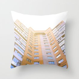 view of a multi-storey building from below Throw Pillow