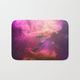 Floating Dolphins in mystic light Bath Mat