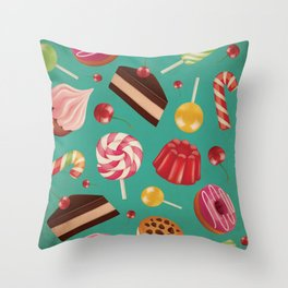 Kitschy and Colorful Candy Pattern on Aqua Throw Pillow
