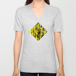 abstract composition in yellow and grays Unisex V-Neck