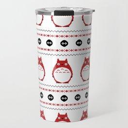 Ghibli Winter Pattern - Red Travel Mug