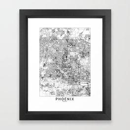 Phoenix White Map Framed Art Print