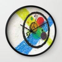 kandinsky Wall Clocks featuring do it like kandinsky by Olga Kakoulidou