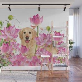 Labrador Retrievers with Lotos Flower Wall Mural