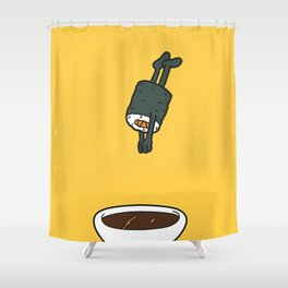 Sushi Jumps Into Soya Sauce Shower Curtain