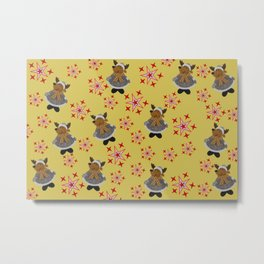 Deer pattern with Stars yellow Metal Print