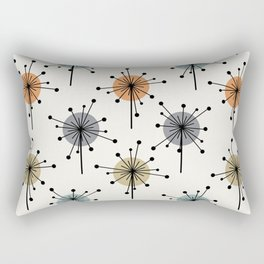 Midcentury Sputnik Starburst Flowers Colorful Rectangular Pillow
