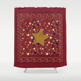 Gold Star Red Shower Curtain