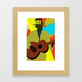 Abstract Halftone Bluesman Framed Art Print