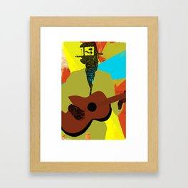 Abstract Halftone Bluesman Framed Art Print