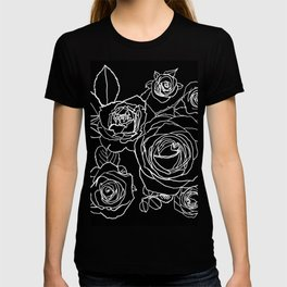 Feminine and Romantic Rose Pattern Line Work Illustration on Black T-shirt