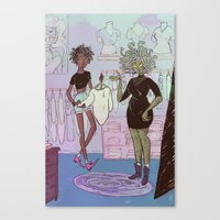 shopping Canvas Prints featuring Shopping by BrinyGhoul