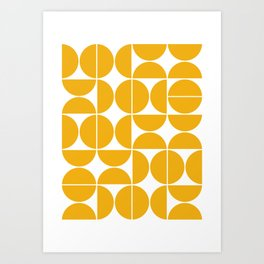 Mid Century Modern Geometric 04 Yellow Art Print