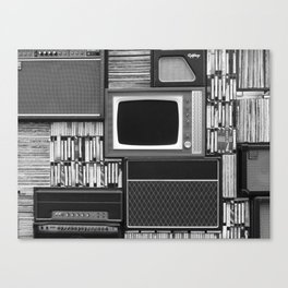 Everything Retro (Black and White) Canvas Print