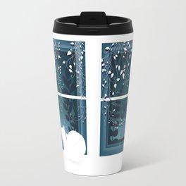 White Kitty Cat Window Watcher Travel Mug