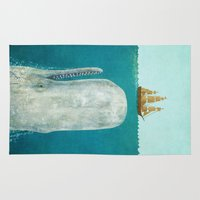 large Area & Throw Rugs featuring The Whale  by Terry Fan