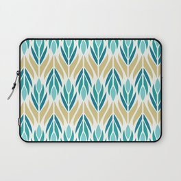 Mid Century Modern Abstract Floral Pattern in Turquoise Teal Aqua and Marigold Laptop Sleeve