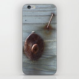 Rusty Nail, Washer and Screw in Wood iPhone Skin