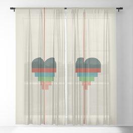 heart geometry Sheer Curtain