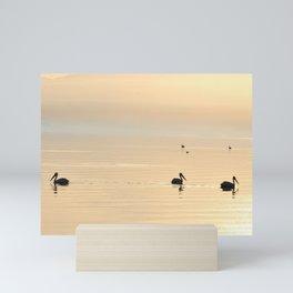 WHITE PELICANS - SUNSET - SALTON SEA Mini Art Print