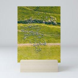 Altogether Too Many Sheep, Aerial Print, Farm Print, Landscape Art Print, Animals Wall Art, Green Mini Art Print