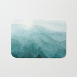 Sunrise in the mountains, dawn, teal, abstract watercolor Bath Mat