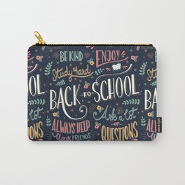 Back to school colorful typography drawing on blackboard with motivational messages, hand lettering Carry-All Pouch