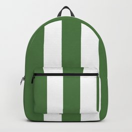 Fern green - solid color - white vertical lines pattern Backpack