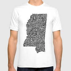 Typographic Mississippi Mens Fitted Tee White X-LARGE