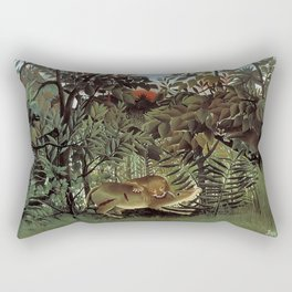 THE HUNGRY LION ATTACKING AN ANTELOPE - ROUSSEAU Rectangular Pillow