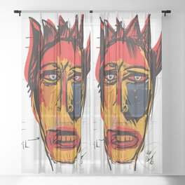 The Devil 15th Card of the tarot Street Art Sheer Curtain