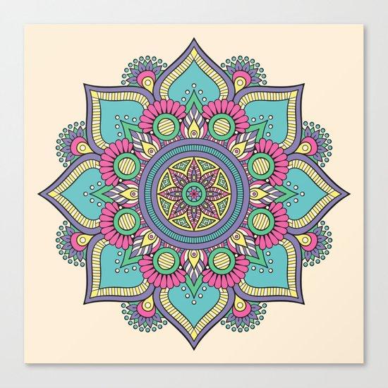 Colorful Abstract Floral Mandala Canvas Print