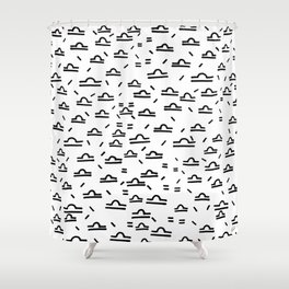 Libra Symbol Pattern Simple Black and White Drawn Shower Curtain