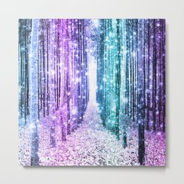 Magical Forest Lavender Aqua Teal Ombre Metal Print