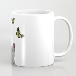Grey Cat with swallow tail Butterflies Coffee Mug