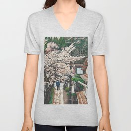 Passing by Cherry Blossoms Unisex V-Neck