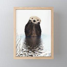 Adorable Smiling Otter in Lake Framed Mini Art Print