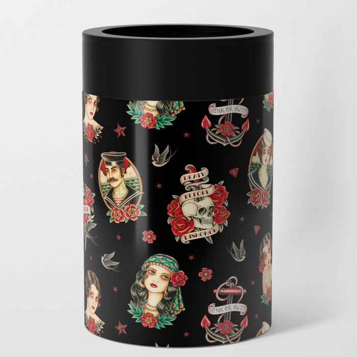Old School Tattoo. Pattern. Black Can Cooler