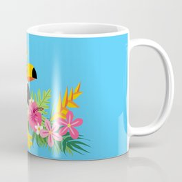 Tropical Toucan Island Coconut Flowers Fruit Blue Background Coffee Mug