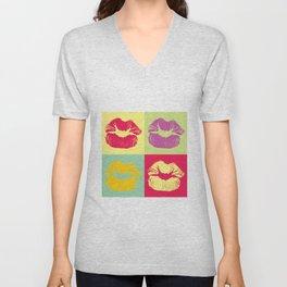 Pop Art Kisses Unisex V-Neck